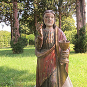 A polychrome carved lime wood figure of St.Benedict, Italy ca. 1520