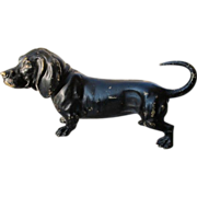 Antique Vienna Bronze figure o a black dog, signed and dated at the beginning of ...