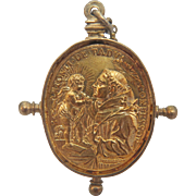 18th century double sided devotional gilt silver  pendant