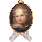 Antique miniature painted on porcelain, 19th century