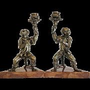 Antique pair of Vienna Bronze candle sticks, 19th century