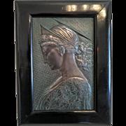 Antique Art Nouveau Bronze plaque depicting the Holy Virgin, ca. 1900