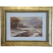 Painting depicting a winter landscape, oil on canvas, ca.1940