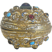 Antique Vienna gilt metal jewelry box with enamel and glass cabochons, ca. 1900