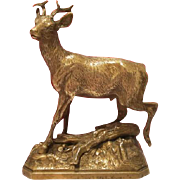 Antique Vienna Bronze figure of a running roebuck, early 20th century