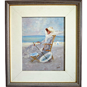 Painting of a lady sitting on the beach, oil on canvas, early 20th century