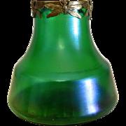 Antique Loetz Art Nouveau vase with gilt metal rim, late 19th century