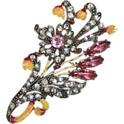 "REDUCED Vintage Staret 3.75"" Rhinestone Enamel Floral, Flower Brooch/Pin, Original"
