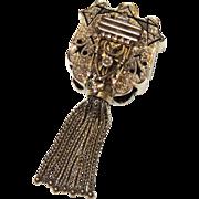 REDUCED Large 14K Victorian Taille d'Epargné Enamel Slide w/ Tassel, Gold, Necklace, Pendant,