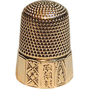 SOLD 14k Gold Sewing Thimble, Size 9, Engraved, 14kt Yellow Gold