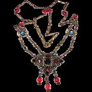 REDUCED 1920's Czech Festoon Necklace, Pendant, Cranberry Pink, Purple, Blue, Amber, Garnet ..