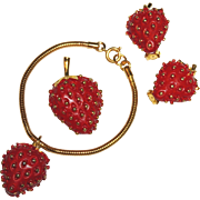 REDUCED Signed Bergere Strawberry Parure, Charm Bracelet, Earrings, Brooch / Pin, Red Enamel,