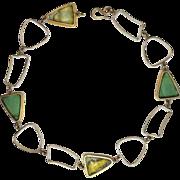 Designer Signed Amy K Faust Bottle & Beach Glass Necklace, Sterling & 18K Gold Vermeil, ...