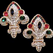 REDUCED Rare Signed Swarovski Fleur De Lis Earrings, Clip Back, Ruby Red, Emerald Green, ...