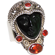 Signed Sajen Sterling Silver, Obsidian & Mexican Fire Opal Ring, Mask, Face, Goddess
