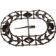 HUGE Black Metal Victorian Belt Bucklet