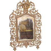 SALE Victorian Cast Frame or Wall Mirror w/ Face of Bacchus