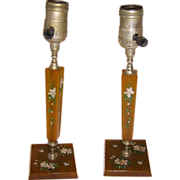 Pair of Art Deco Painted Bakelite Boudoir Lamps