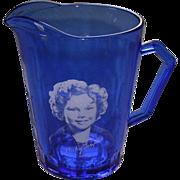 Vintage Cobalt Blue Atlas Glass Shirley Temple Creamer