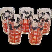 Set of 5 Scotty Dog Juice Glasses Hazel Atlas
