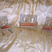 Set of Victorian Zinc Doll Furniture 3 Pieces