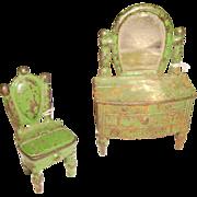Kilgore Cast Iron Dresser & Chair Set Doll House Furniture