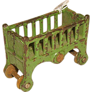 Kilgore Cast Iron Baby Bed on Wheels Doll House Furniture