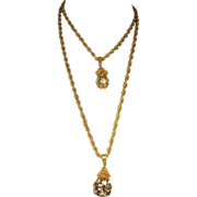 Miriam Haskell Double Strand Rhinestone Drop Pendant Necklace