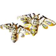 Coro Duette Rhinestone & Enamel Bee Brooch or Dress Clips