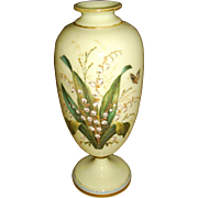 SOLD Victorian Green Opaline Bohemian Enameled Mantle Vase