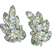 Vintage Eisenberg Clear Rhinestone Clip Earrings
