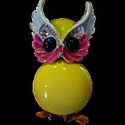 "SALE Signed ""Art"" Enameled Owl Brooch"