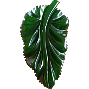 Deeply Carved Translucent Green Bakelite Leaf Pin