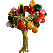 "Whimsical Vintage Tree Brooch Signed ""Joy"""
