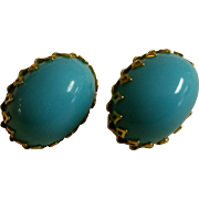 SOLD Vintage Schreiner Cabochon Faux Persian Turquoise Earrings