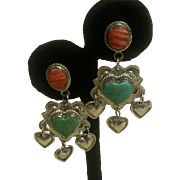 Sterling Southwestern Heart Earrings