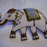 SALE Vintage Enamel SIAM ROYAL Elephant Pin or Brooch 1940s