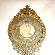 SOLD Antique Bronze French Hand Mirror w/ Miniature Signed Portrait