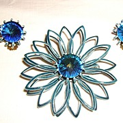 Vintage Flower Pin w/ Matching Earrings Blue Enamel & Rivoli Rhinestones