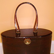 Vintage Signed WILARDY Lucite Purse Handbag Marble Root Beer