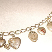 Sterling Silver Puffy Heart Charm Bracelet with 11 Charms