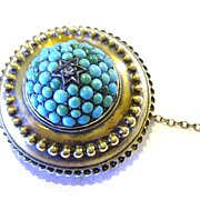 Georgian Mourning Pin w/ Locket Back Pave Persian Turquoise & 15K Gold