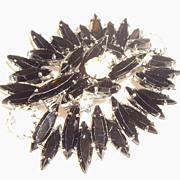 Vintage Schreiner Style Jet Black & Clear Rhinestone Pin