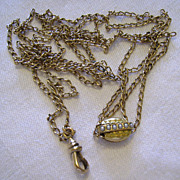 Victorian Ladies Gold Filled Watch Chain w/ Seed Pearl Slide 46 inch