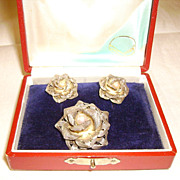 Silver Filigree Rose Earrings & Pin/Pendant Set w/ Pearls