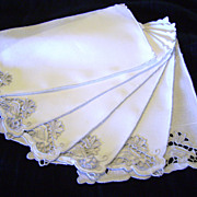 SOLD Set of Six Large Linen and Cutwork Rooster Cocktail Napkins