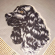 Vintage All Cotton Black Cocker Spaniel Dog Handkerchief