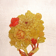 Vintage Ivory Colored Celluloid Flower Bouquet Brooch Japan
