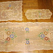 SALE Vintage Colored Tambour & Net Lace Dresser Set