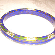 Vintage Lapis Blue Cloisonne Bangle Bracelet